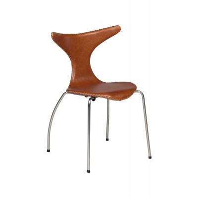 Chair Dolphin Leather | Light Brown & Matt Legs
