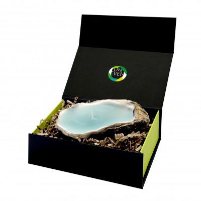 Austernkerze + Duftperle Geschenkpackung klein | Aqua