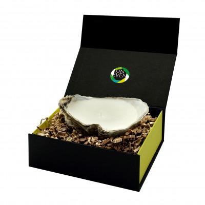 Austernkerze + Duftperle Geschenkpackung klein | Natürlich