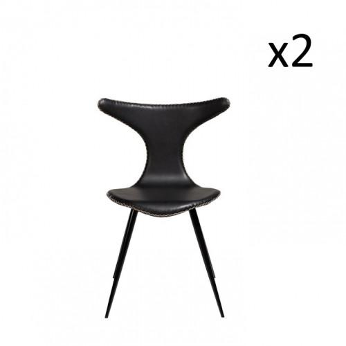 Stuhl Dolphin   Vintage Schwarzes PU-Leder & schwarze Beine   2er-Set