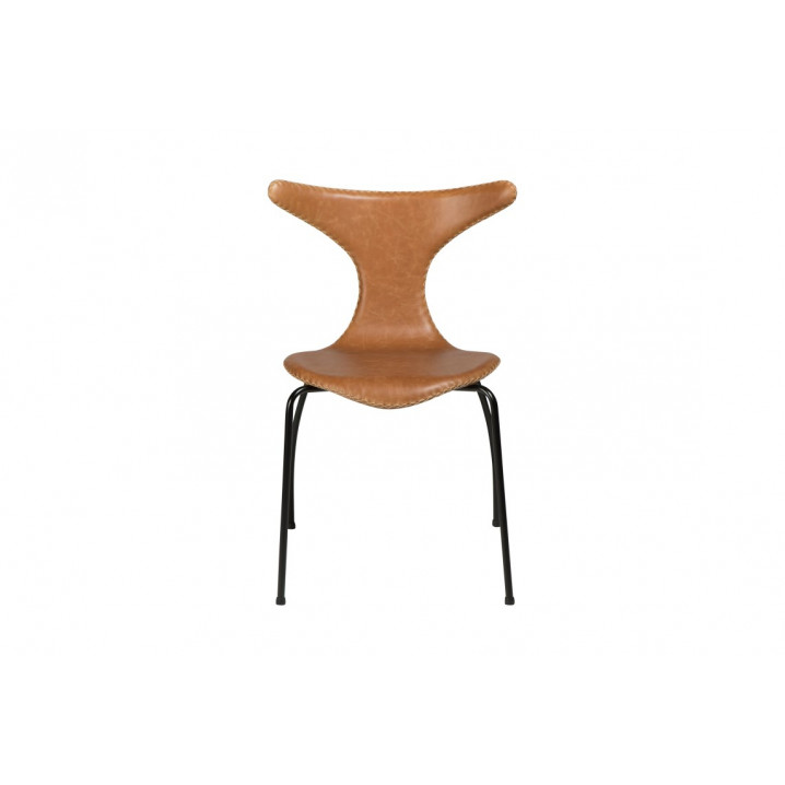 Stuhl Dolphin | Hellbraunes Leder & schwarze Beine | 4er-Set