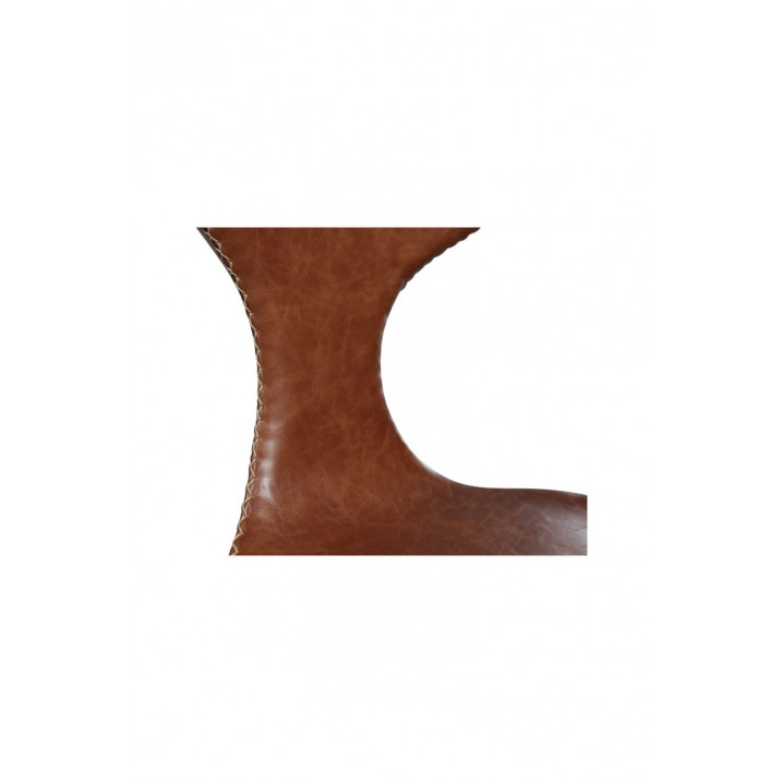 Stuhl Dolphin | Hellbraunes Leder & Chrombeine | 4er-Set