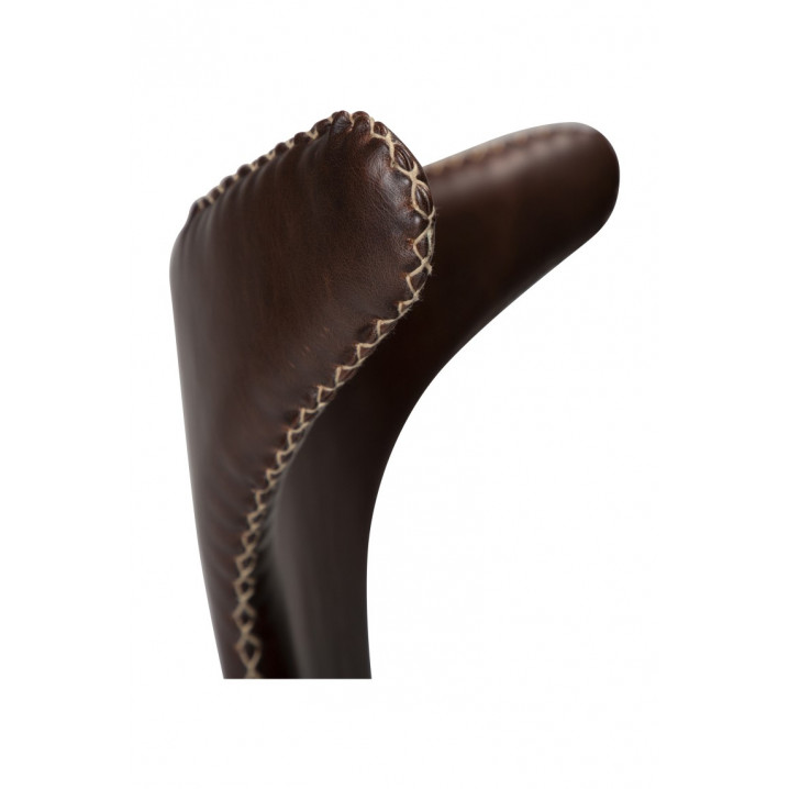 Stuhl Dolphin | Vintage Cacaobraunes PU-Leder & schwarze Beine | 2er-Set