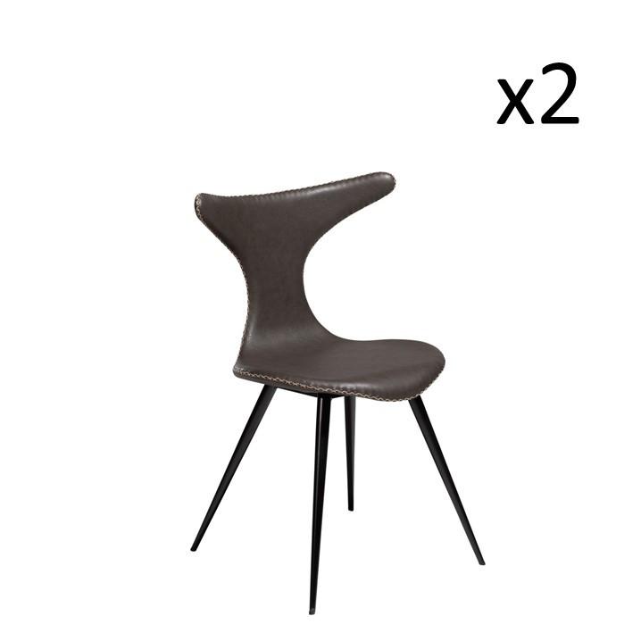 Stuhl Dolphin | Vintage Graues PU-Leder & schwarze Beine | 2er-Set