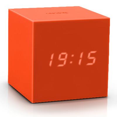 Würfel-Klick-Uhr-Schwerkraft   Orange