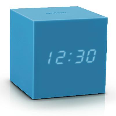 Würfel-Klick-Uhr-Schwerkraft   Himmelblau