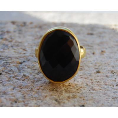 Black Oval Onyx Ring