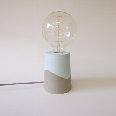 Vase Lamp   Concrete/Light Blue