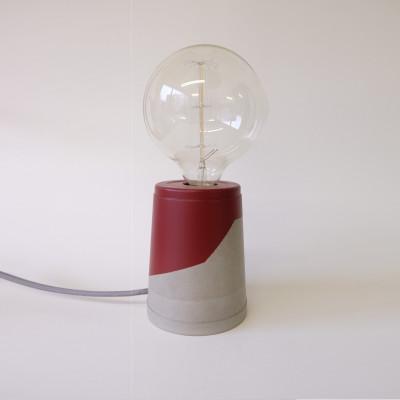 Vase Lamp   Concrete/Burgundy