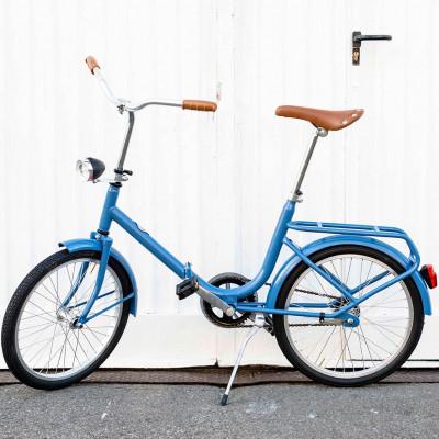 Dude Bike mit Klingel und braunem Ledersattel und Griffen   Blau