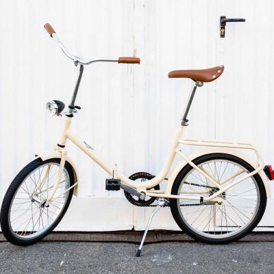 Dude Bike mit Klingel & braunem Ledersattel & Griffen   Off-white