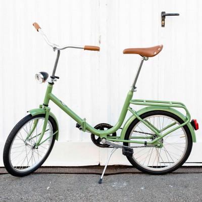 Dude Bike mit Klingel und braunem Ledersattel und Griffen   Grün