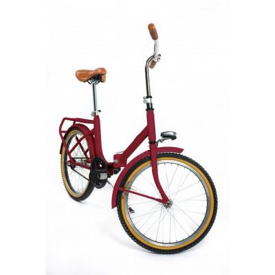 Dude Bike mit Klingel und braunem Ledersattel und Griffen   Rot