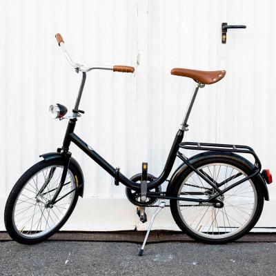 Dude Bike mit Klingel & braunem Ledersattel & Griffen   Schwarz