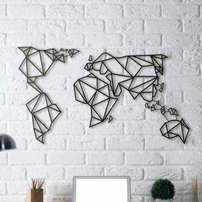Wanddekoration Weltkarte | Schwarz