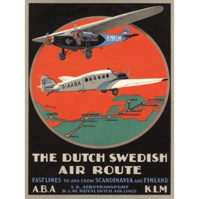 Poster Dutch Swedish Air Route | 30 x 40 cm