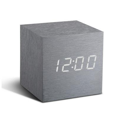 Würfel-Klick-Uhr   Aluminium / Weiß