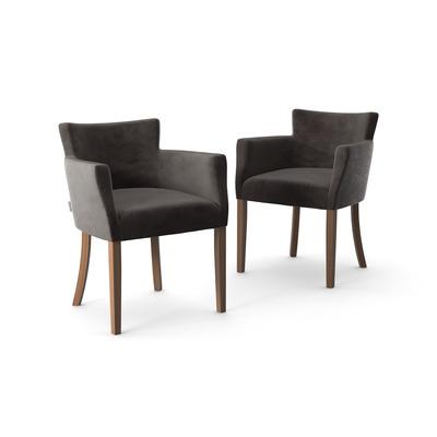 2-er Set Stühle Santal Samt Touch | Braune Beine & Anthrazit