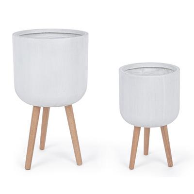 Satz von 2 Modernen Runden Vasen | Weiß