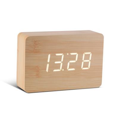Brick Klick-Uhr   Buche und Weiße LED