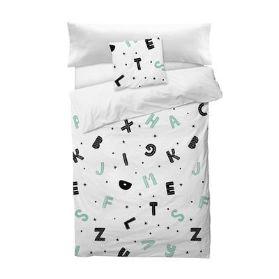 Bettbezug Alphabet I Weiß 155x220 + 110x45 cm