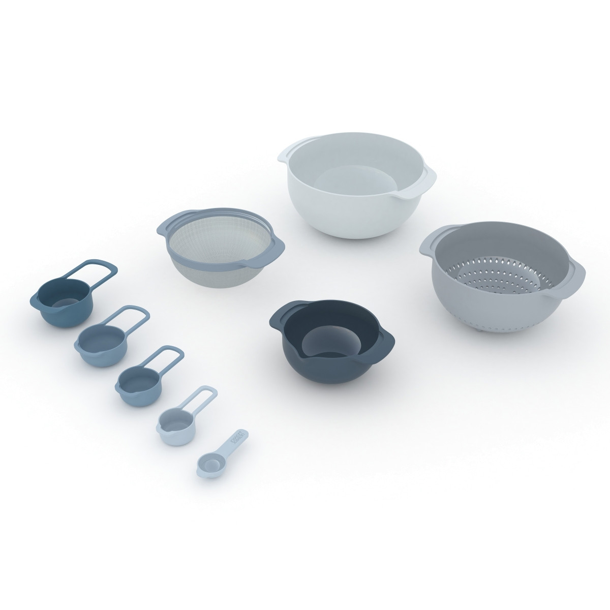Rührschüsseln & Messbecher Nest-Set mit 9 Stück   Blau