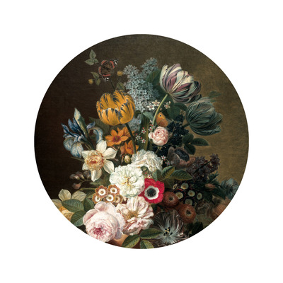 Wallpaper Circle Small Golden Age Flowers