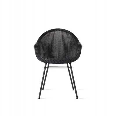 Outdoor Dining Chair Edgard Steel A Base   Black