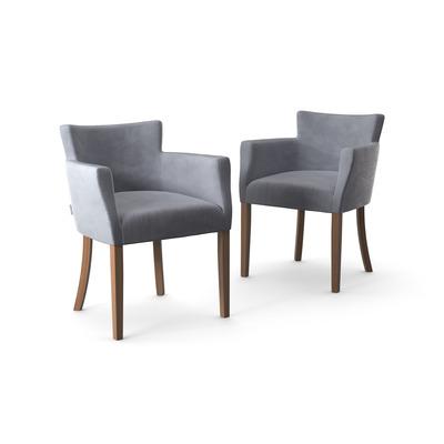 2-er Set Stühle Santal Samt Touch | Braune Beine & Grau