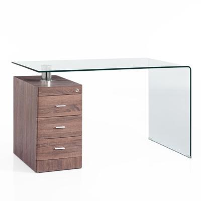 Gebogener Schreibtisch Bow | Dunkles Holz