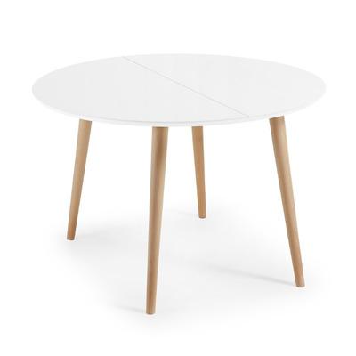 Runder Ausziehbarer Tisch Oakland   120 (200) x 120 cm Weiß