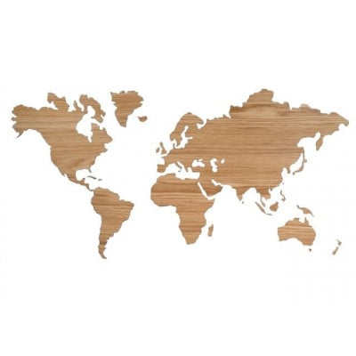 Sticky Wooden World Map   Oak