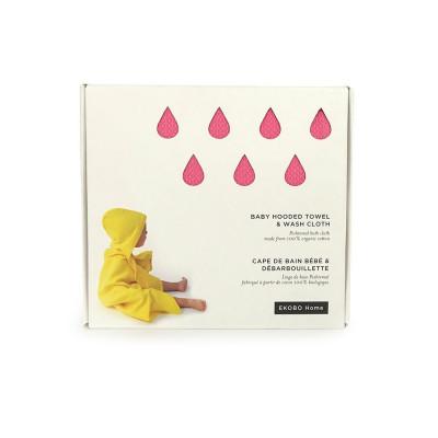 Handtuch mit Kapuze & Waschlappen | Pink
