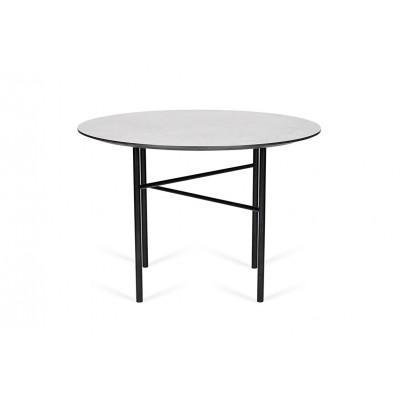 Esstisch Traversa | Betonfarbene Tischplatte & Schwarzes Gestell