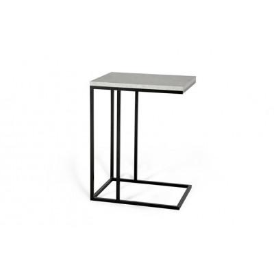 Beistelltisch Forest | Betonfarbene Tischplatte & Schwarzes Gestell