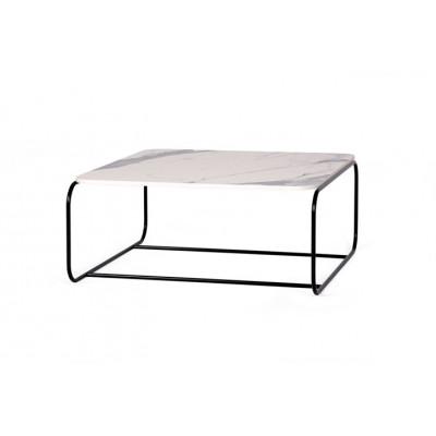 Couchtisch Sled | Tischplatte Marmor Weiß  & Schwarze Beine