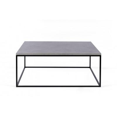 Couchtisch Forest Quadrat | Betonfarbene Tischplatte & Schwarzes Gestell