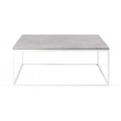 Couchtisch Forest Quadrat | Betonfarbene Tischplatte & Weißes Gestell
