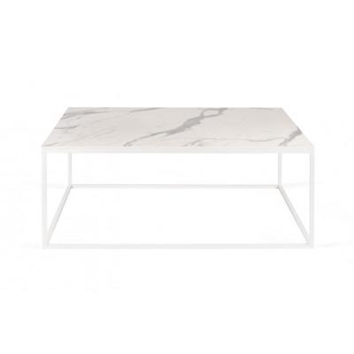 Couchtisch Forest Quadrat | Marmor Weiß Tischplatte & Weißes Gestell