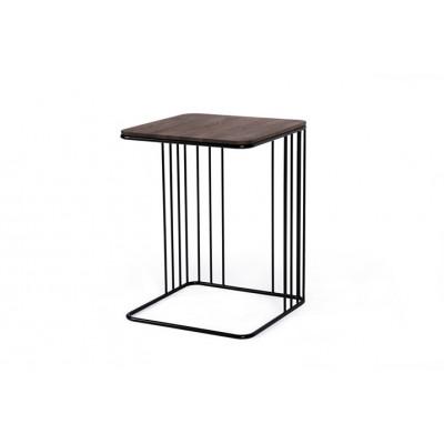 Beistelltisch Elegans | Dunkel Eichene Tischplatte & Schwarzes Gestell