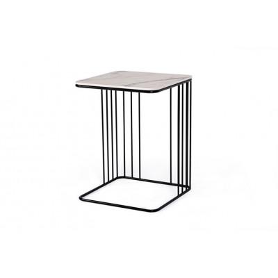 Beistelltisch Elegans | Marmor Weiß Tischplatte & Schwarzes Gestell