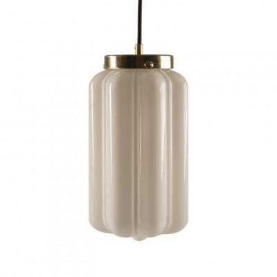 Glas Pendelleuchte Opaline Deco   Weiß-Gold