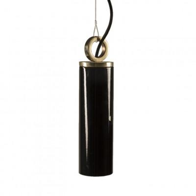 Glas Pendelleuchte Schwarz Kopenhagen Mit Ring   Schwarz-Gold