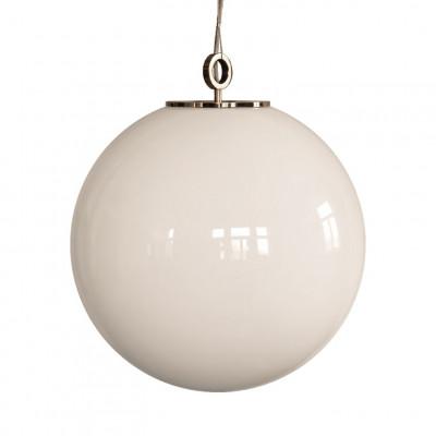 Glas Pendelleuchte Große weiße Kugel 500 mit Ring   Weiß-Gold