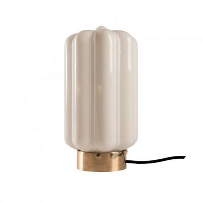 Glastischlampe Opaline Deco   Weiß-Gold