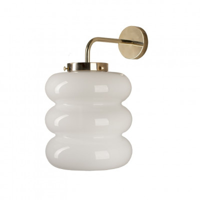 Glaswandlampe Bibe   Weiß-Gold