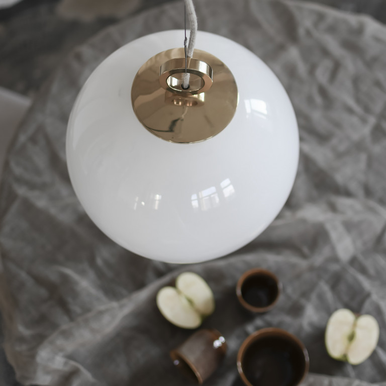 Glas Pendelleuchte Light Weißer Ball 350 Mit Ring   Weiß-Gold
