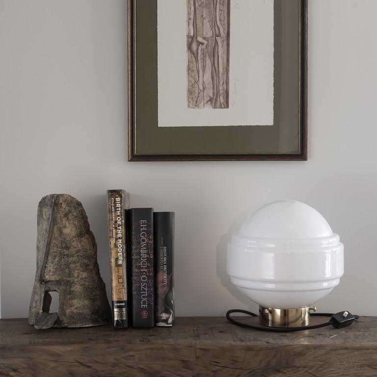 Glastischlampe Saturn   Weiß-Gold
