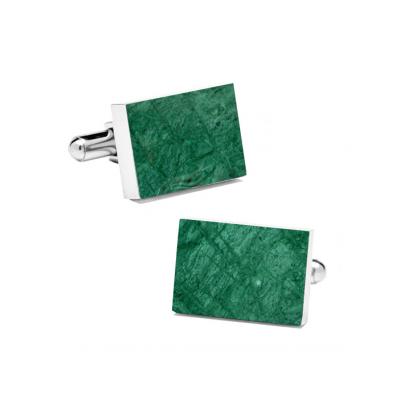 Marble Cuff Links | Emerald Green (Rectangular)
