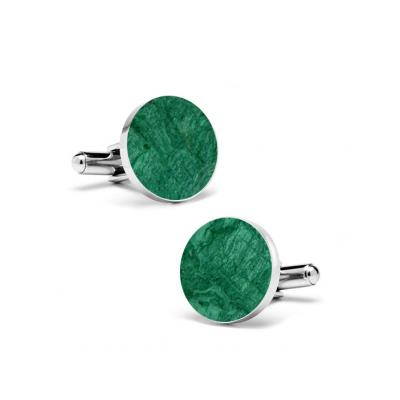 Marble Cuff Links | Emerald Green (Round)
